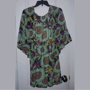 L Cowgirl Justice Feather Bell Sleeve Dress
